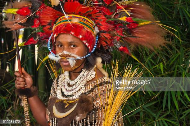 Papuan girl in traditional costume at Goroka Show