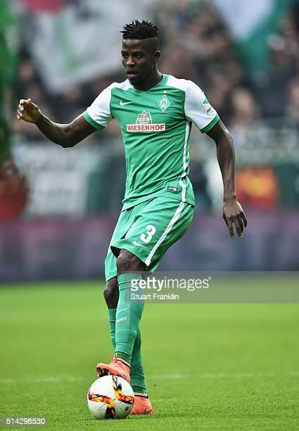 Papy Djilobodji of Bremen in action during the Bundesliga match between Werder Bremen and Hannover 96 at Weserstadion on March 5 2016 in Bremen...