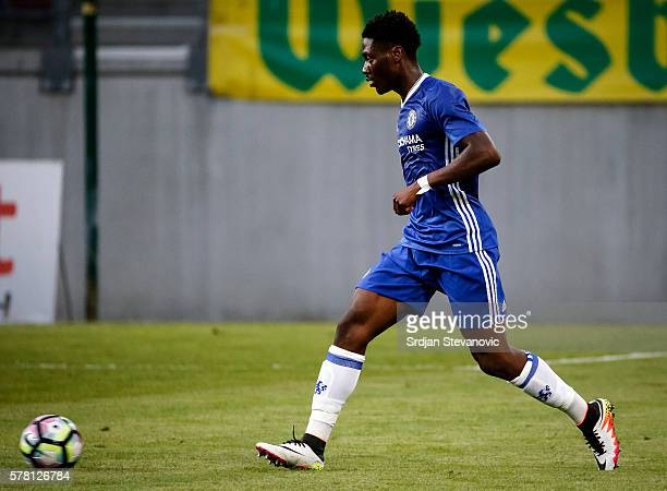 Papy Djilobodji of Chelsea in action during the friendly match between WAC RZ Pellets and Chelsea FC at Worthersee Stadion on July 20 2016 in Velden...