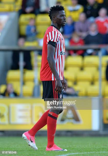 Papy Djilobodji of Sunderland in action during the pre season friendly between Livingston and Sunderland at Almondvale Stadium on July 12 2017 in...