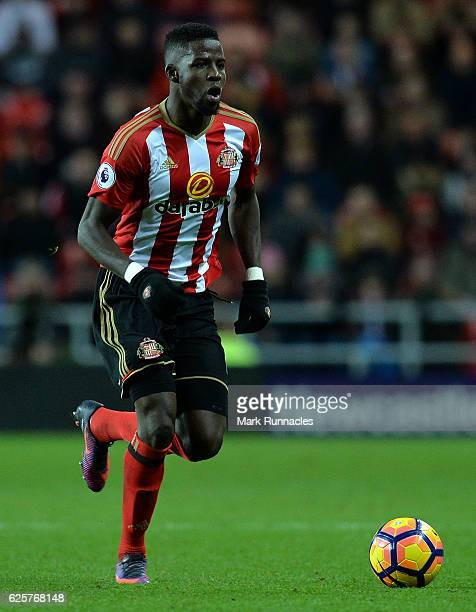 Papy Djilobodji of Sunderland in action during the Premier League match between Sunderland and Hull City at Stadium of Light on November 19 2016 in...