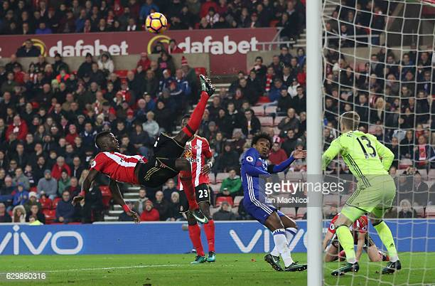 Papy Djilobodji of Sunderland makes an acrobatic clearance during the Premier League match between Sunderland and Chelsea at Stadium of Light on...