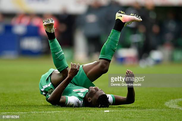 Papy Djilobodji of Werder Bremen reacts after the Bundesliga match between Werder Bremen and 1 FSV Mainz 05 at Weserstadion on March 19 2016 in...