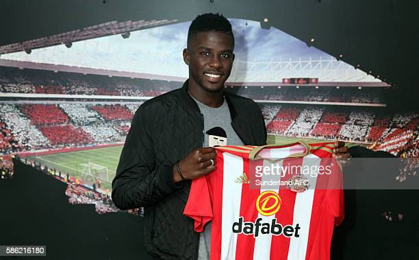 Papy Djilobodji pictured after becoming David Moyes first signing at The Academy of Light on August 5 2016 in Sunderland England
