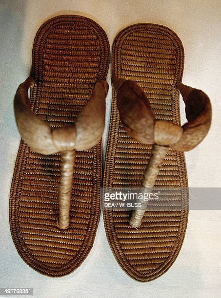 Papyrus sandals from the Tomb of Yuya and Tjuyu Egyptian civilization XVIII Dynasty Cairo Egyptian Museum