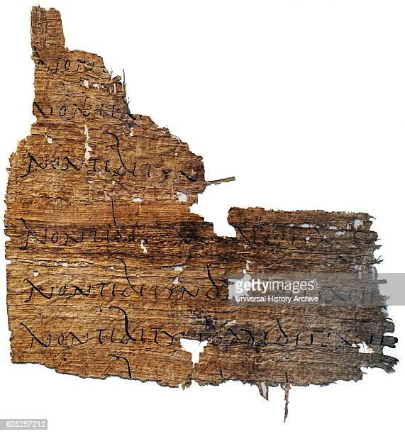 Papyrus with a line of Virgil's Aeneid which has been repeated as part of a writing exercise Dated 1st Century