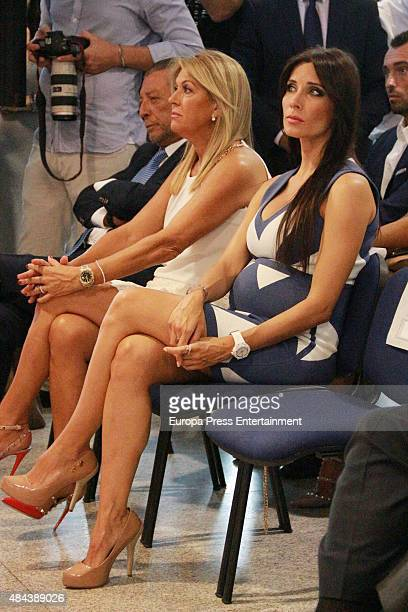 Paqui Garcia and Pilar Rubio during a press conference to announce Ramos' new fiveyear contract with Real Madrid at the Santiago Bernabeu stadium on...