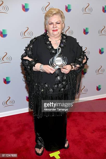 Paquita La Del Barrio poses with awards backstage with Univision's 28th Edition of Premio Lo Nuestro A La Musica Latina on February 18 2016 in Miami...