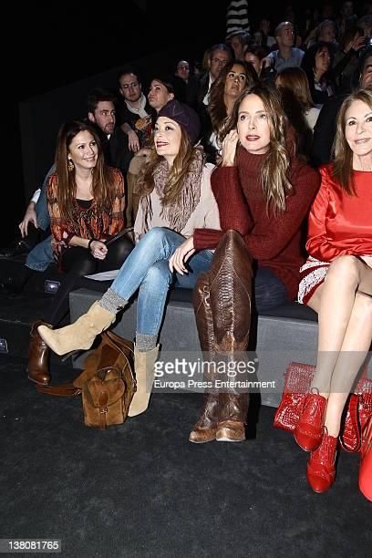 Paquita Torrres Estefania Luyck and Lucia Hoyos attend a show during MercedesBenz Fashion Week Madrid A/W 2012 at Ifema on February 2 2012 in Madrid...