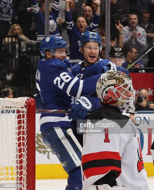 Par Lindholm celebrates a second period goal by Connor Brown of the Toronto Maple Leafs against Keith Kinkaid of the New Jersey Devils at the...