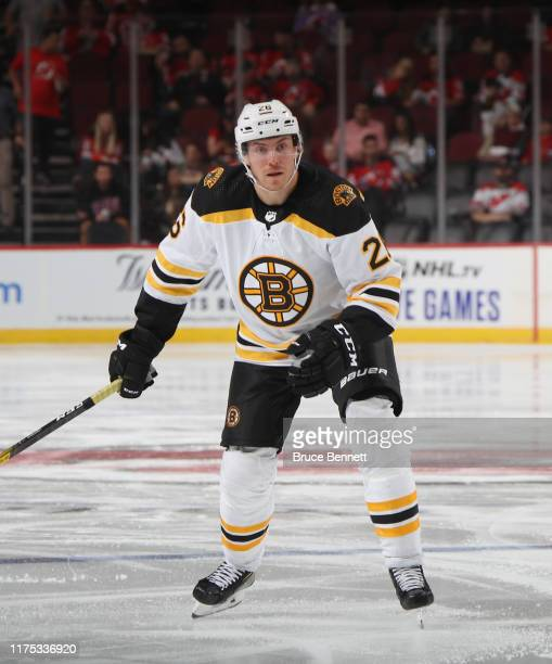 Par Lindholm of the Boston Bruins skates against the New Jersey Devils during preseason action at the Prudential Center on September 16 2019 in...