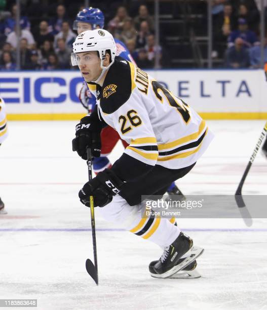 Par Lindholm of the Boston Bruins skates against the New York Rangers at Madison Square Garden on October 27 2019 in New York City The Bruins...