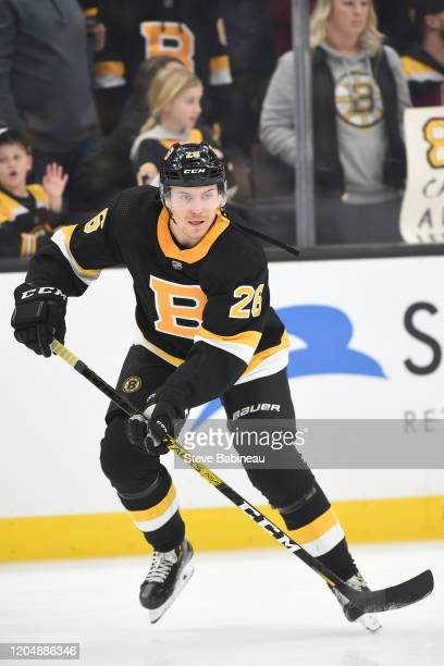 Par Lindholm of the Boston Bruins warms up before the game against the Arizona Coyotes at the TD Garden on February 8 2020 in Boston Massachusetts