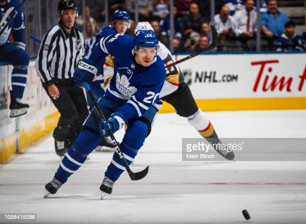 Par Lindholm of the Toronto Maple Leafs plays the puck during the first period against the Vegas Golden Knights at the Scotiabank Arena on November 6...