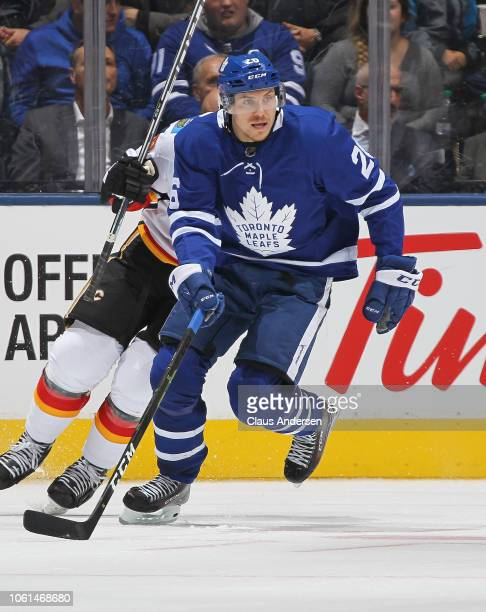 Par Lindholm of the Toronto Maple Leafs skates against the Calgary Flames during an NHL game at Scotiabank Arena on October 29 2018 in Toronto...