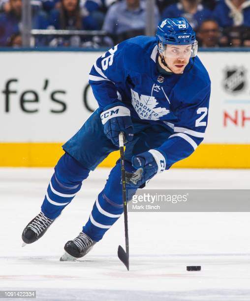 Par Lindholm of the Toronto Maple Leafs skates against the Nashville Predators during the first period at the Scotiabank Arena on January 7 2019 in...