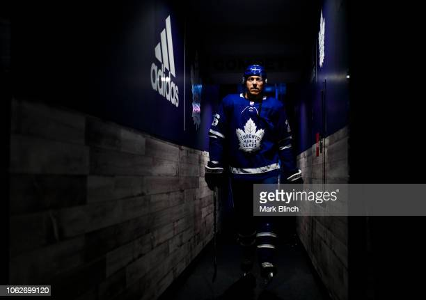 Par Lindholm of the Toronto Maple Leafs walks to the dressing room before playing the Dallas Stars at the Scotiabank Arena on November 1 2018 in...
