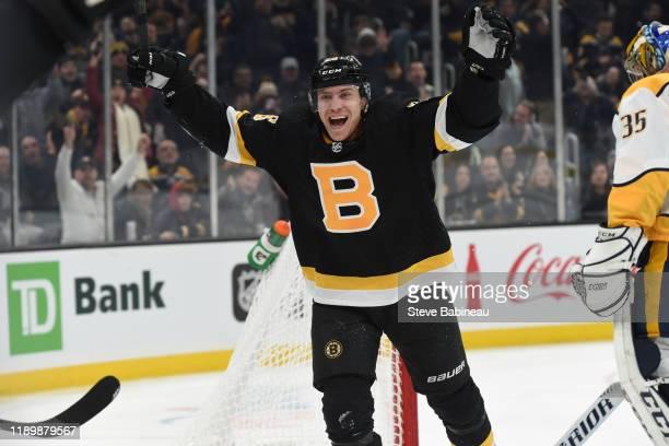Par Lindholn of the Boston Bruins celebrates his goal against the Nashville Predators at the TD Garden on December 21 2019 in Boston Massachusetts