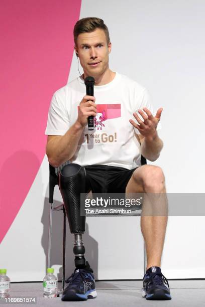 Para athlete Markus Rehm of Germany attends a press conference announcing the Tokyo 2020 Paralympic ticket lottery opens on August 22, 2019 in Tokyo,...