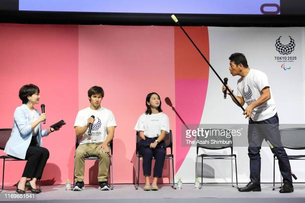 Para athletes Kenichi Kimura, Sae Shigemoto of Japan, Markus Rehm of Germany and comedian Shinya Ueda attend a press conference announcing the Tokyo...