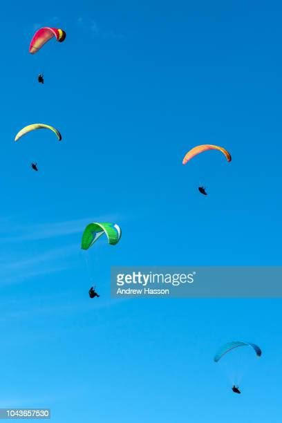 Para gliders enjoying the favorable flying conditions in the South Downs National Park at Devil's Dyke on September 24 2018 near Brighton England