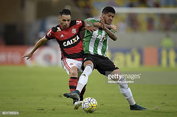 Para of Flamengo battles for the ball with Leandro of Coritiba during the match between Flamengo and Coritiba as part of Brasileirao Series A 2016 at...