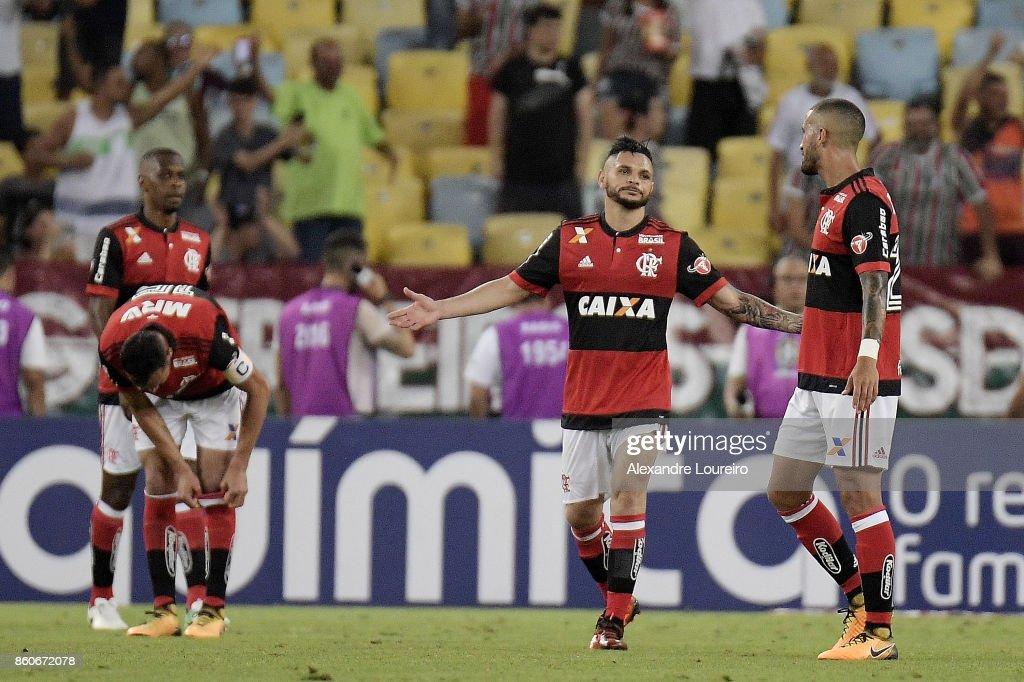 Para of Flamengo reacs after score a own goal during the match between Flamengo and Fluminense as part of Brasileirao Series A 2017 at Maracana Stadium on October 12, 2017 in Rio de Janeiro, Brazil.