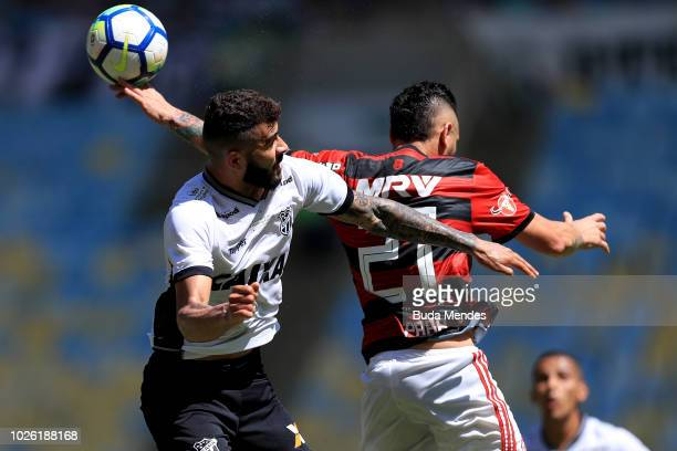 Para of Flamengo struggles for the ball with Joao Lucas of Ceara during a match between Flamengo and Ceara as part of Brasileirao Series A 2018 at...