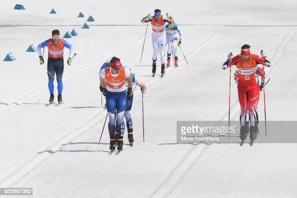 Para skiers compete in the CrossCountry Men's 15km Sprint Classic Visually Impaired on day five of the PyeongChang 2018 Paralympic Games on March 14...