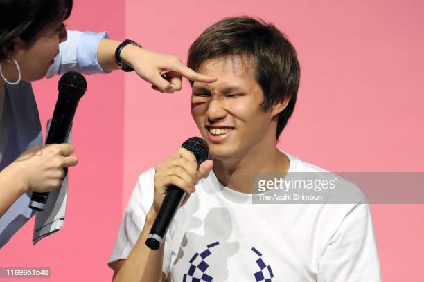 Para swimmer Kenichi Kimura attends a press conference announcing the Tokyo 2020 Paralympic ticket lottery opens on August 22, 2019 in Tokyo, Japan.