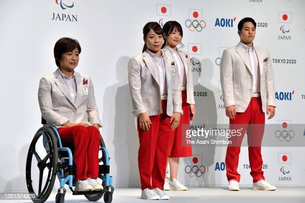 Para triathlete Wakako Tsuchida, weightlifter Hiromi Miyake, equestrian Akane Kuroki and swimmer Daiya Seto pose during the Japanese Olympic and...
