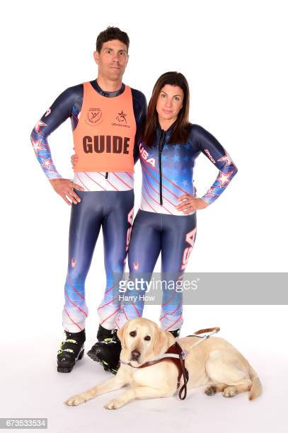 ParaAlpine Skier Danelle Umstead and her guide husband Rob Umstead and guide dog Aziza pose for a portrait during the Team USA PyeongChang 2018...