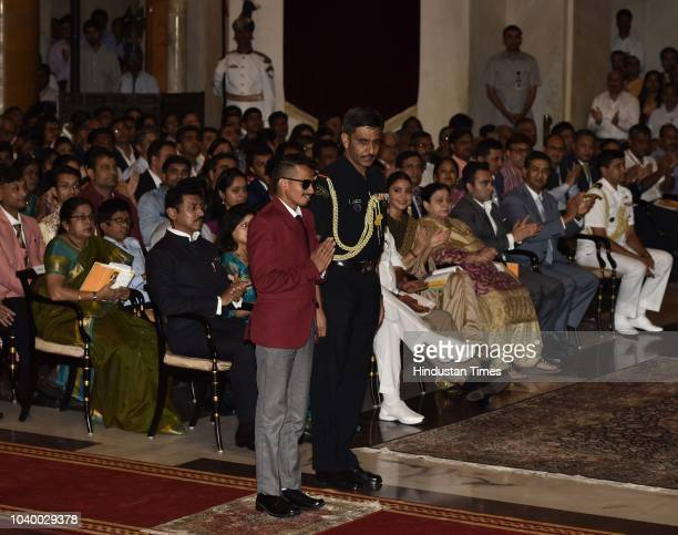 Paraathlete Ankur Dhama before receiving the Arjuna Award 2018 for his achievements from President Ramnath Kovind during the National Sports and...