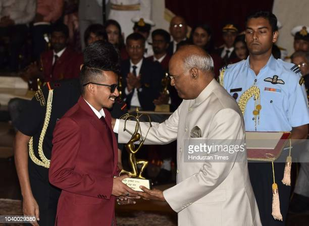 Paraathlete Ankur Dhama receives Arjuna Award 2018 for his achievements from President Ramnath Kovind during the National Sports and Adventure Award...