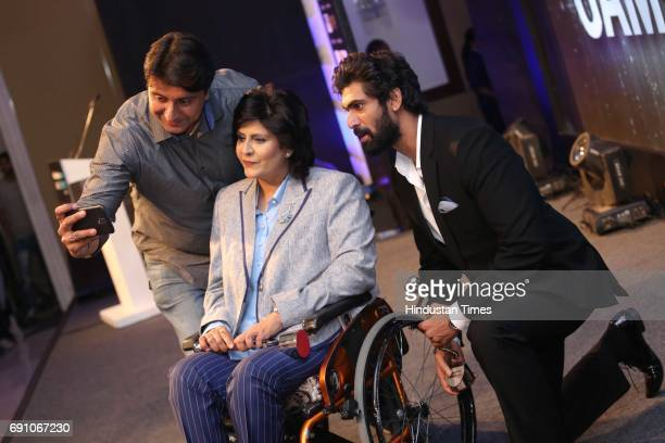 Paraathlete Deepa Malik and actor Rana Daggubati during the Hindustan Times Game Changer Awards 2017 at Hotel Oberoi on May 24 2017 in Gurgaon India