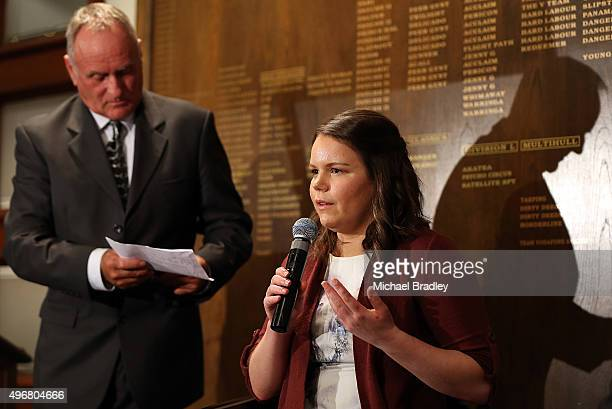 ParaAthletes Mark Inglis and Mary Fisher speak during the Prime Ministers' Dinner presented by Paralympics New Zealand Adecco at Royal New Zealand...