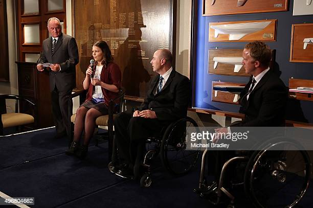 ParaAthletes Mark Inglis Mary Fisher Mike Johnson and Cory Peters speak during the Prime Ministers' Dinner presented by Paralympics New Zealand...