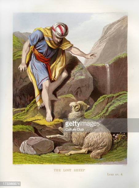 Parable of the Lost Sheep Parable of Jesus illustration to Luke 94 A shepherd leaves his flock in order to find the one sheep who is lost Parable of...