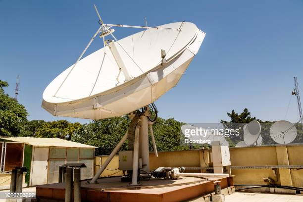A parabolic antennae stands on the roof of the Alef Technology office in Kabul Afghanistan on Wednesday July 11 2018 Dubaibased Alef Technology which...