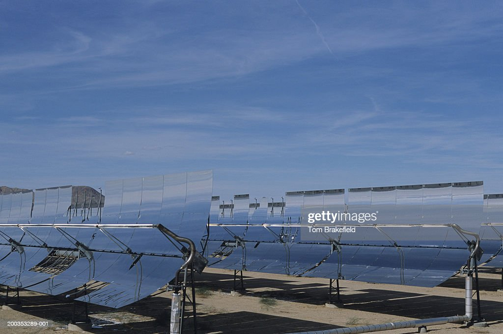 Parabolic Through Mirrors In Solar Power Plant Renewable Energy Daggett Ca Usa Photo Getty Images