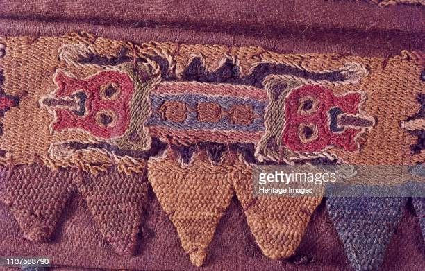 Paracas textile cloth with embrodery depicting anthropomotfic figures The Paracas culture was an Andean society existing between approximately 800...