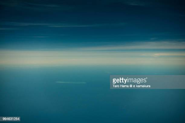 Paracel Islands in South China Sea daytime aerial view from airplane