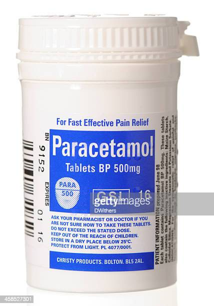 paracetamol tablet container - acetaminophen stock photos and pictures