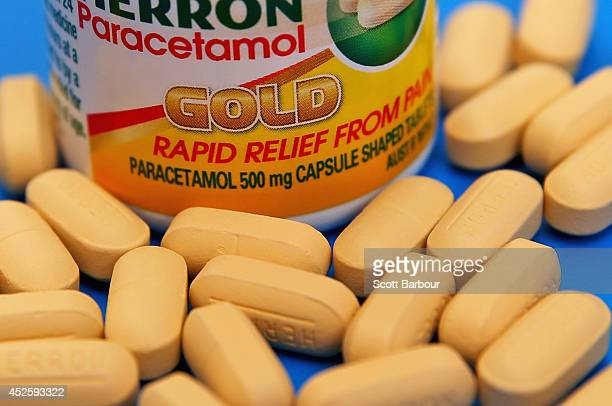 Paracetamol tablets sit on a table on July 24 2014 in Melbourne Australia In a new study published in the prestigious medical journal 'The Lancet'...
