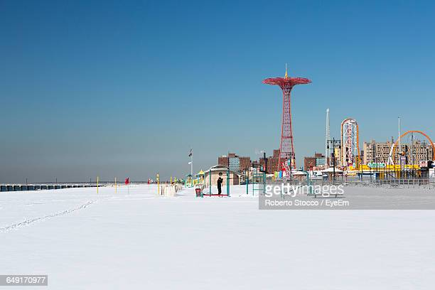 Parachute Jump At Coney Island Against Clear Sky In City During Winter