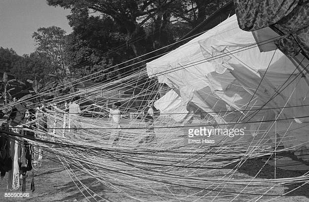Parachutes drying at a French Foreign Legion encampment, Indochina, 1954.