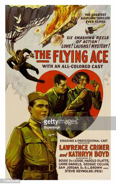 Parachutist falls from the sky from a burning plane involved I aerial combat a couple in a heart and a airman on a poster that advertises the movie...