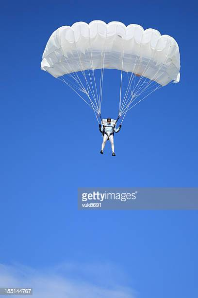 Parachutist in air
