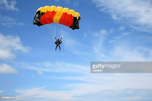 Parachutist in the air