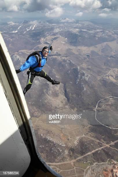 Parachutist jump from a plane